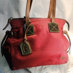 Authentic red nylon Dooney & Bourke purse handbag